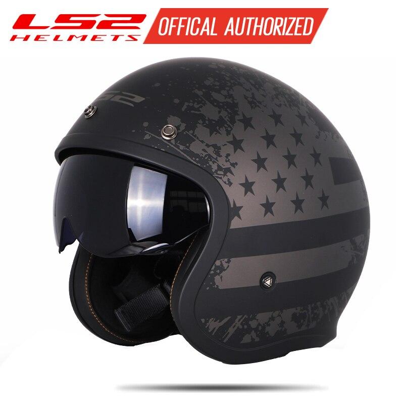 LS2 OF599 Helmets Spitfire Motorcycle Helmet Jet Vintage Open Face Helmet