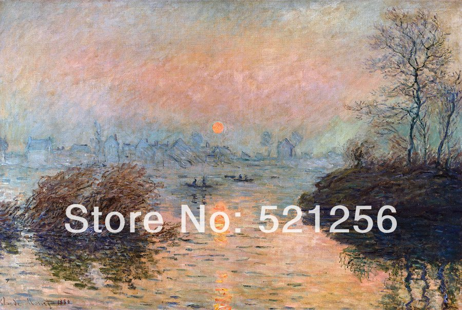 Free shipping wall art home decoration famous canvas prints printed Claude Monet - Sunset on the Seine, Winter Effect (1880)