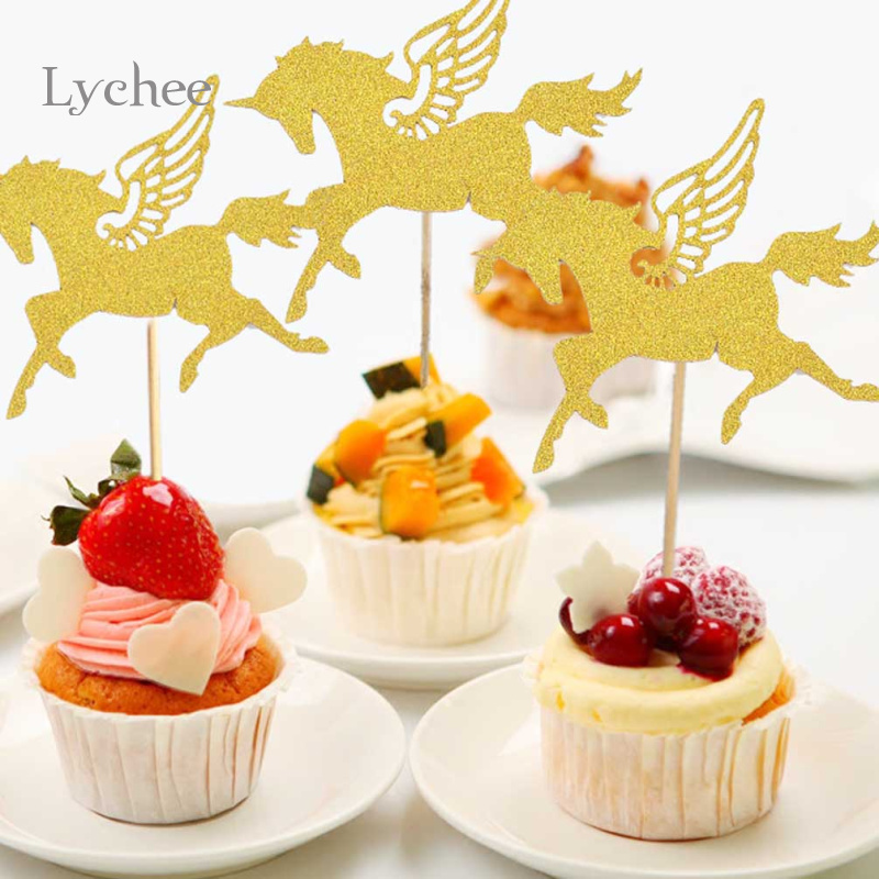Lychee 5 Pieces/Set Gold Unicorn Pegasus Cupcake Topper for Wedding ...