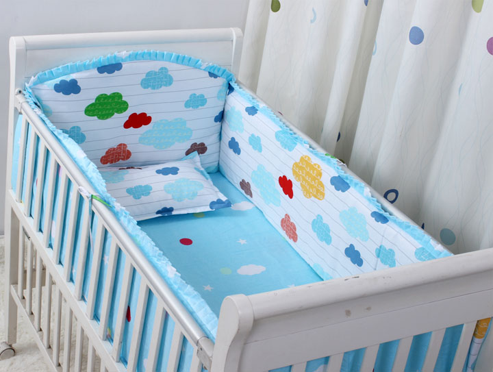 Promotion! 6PCS Baby Crib Bedding Sets Baby Boy Cot Bedding Sets Baby Bed Cot Sheet (bumpers+sheet+pillow Cover)