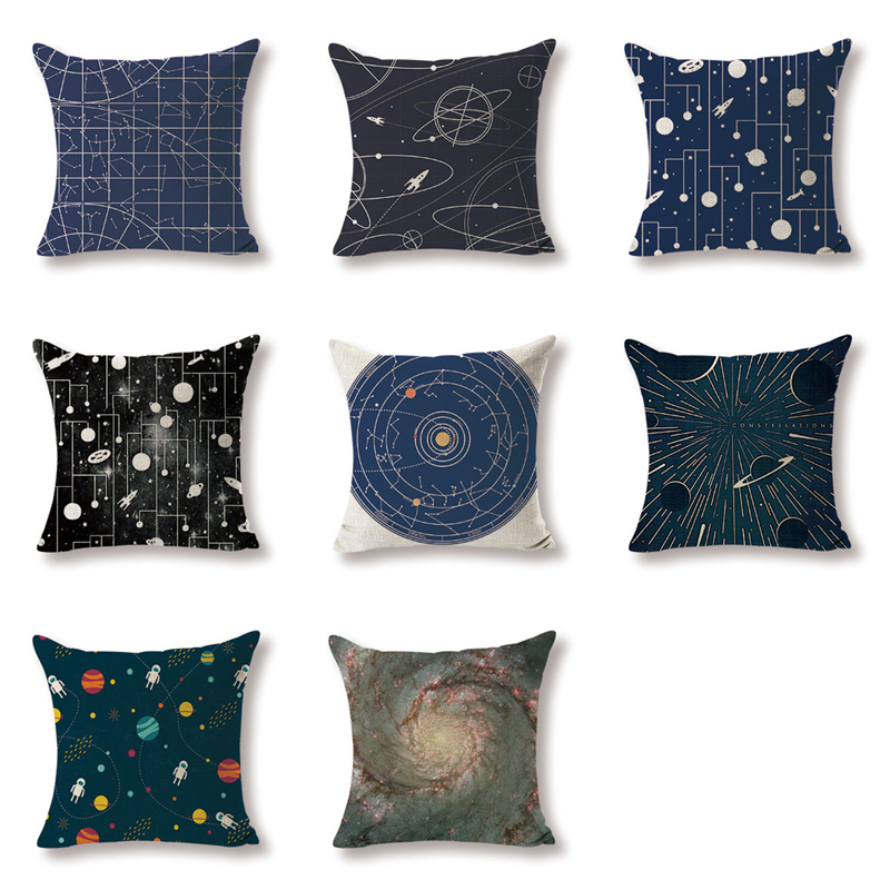 Gift Cushion Cover Fantasy Spacecraft Bule Pillowcases Sofaseat Rectangle Burlap Home Office Furniture Geometry Chic Kussenhoes