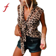 Debardeur femme beauty and beast label leopard print features V-neck leopard print ladies top Front straps are wild roupas Femin(China)