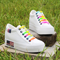 US Flag Womens Platform White Shoes New 2016 Breathable Outdoor Rainbow Canvas Shoes Women Thick Sole Trainers Zapatillas Mujer