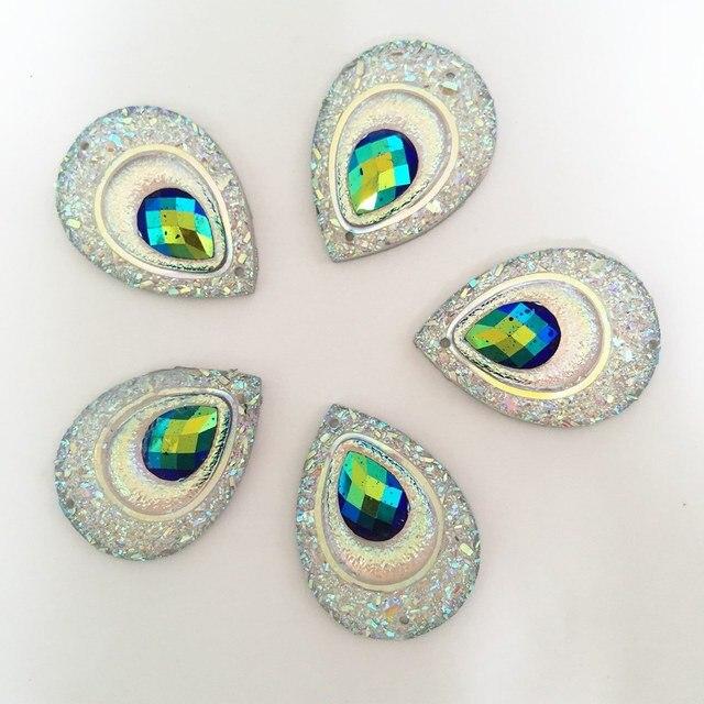 20PCS AB Resin 18*25mm Teardrop Peacock eye Flatback Rhinestone Ornaments DIY Wedding appliques 2 hole buttons SD121*2