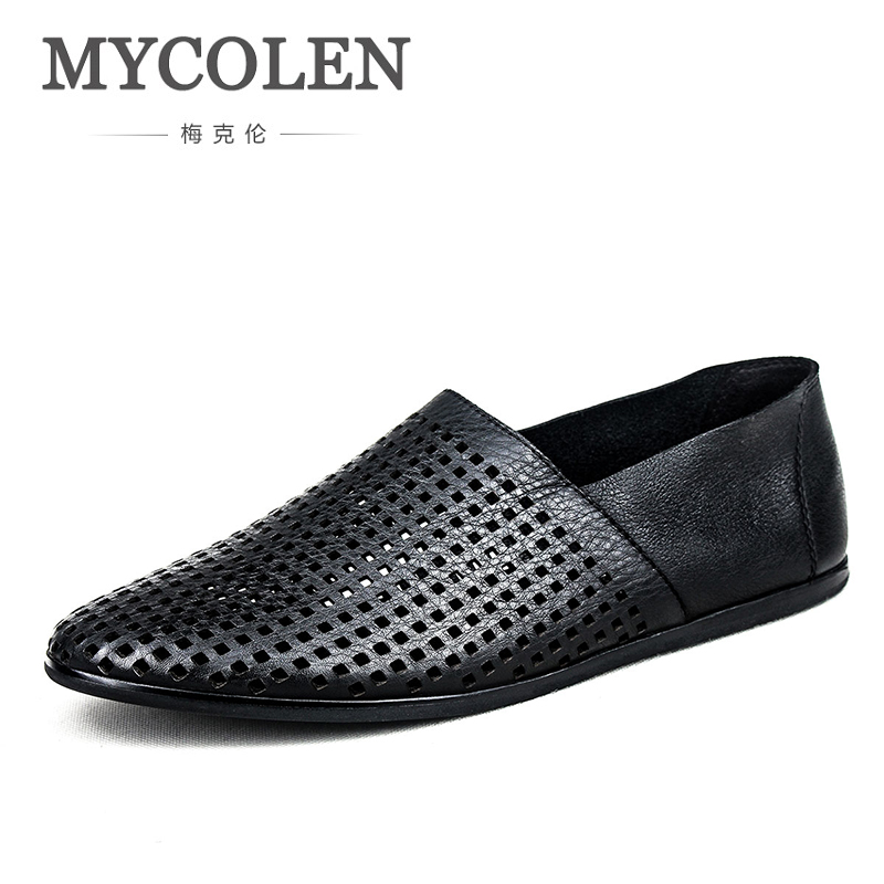 MYCOLEN Spring Summer Breathable Moccasins Men Loafers Shoes Fashion Brand Male Flats Genuine Leather Casual Walking Footwear vesonal 2017 brand casual male shoes adult men crocodile grain genuine leather spring autumn fashion luxury quality footwear man