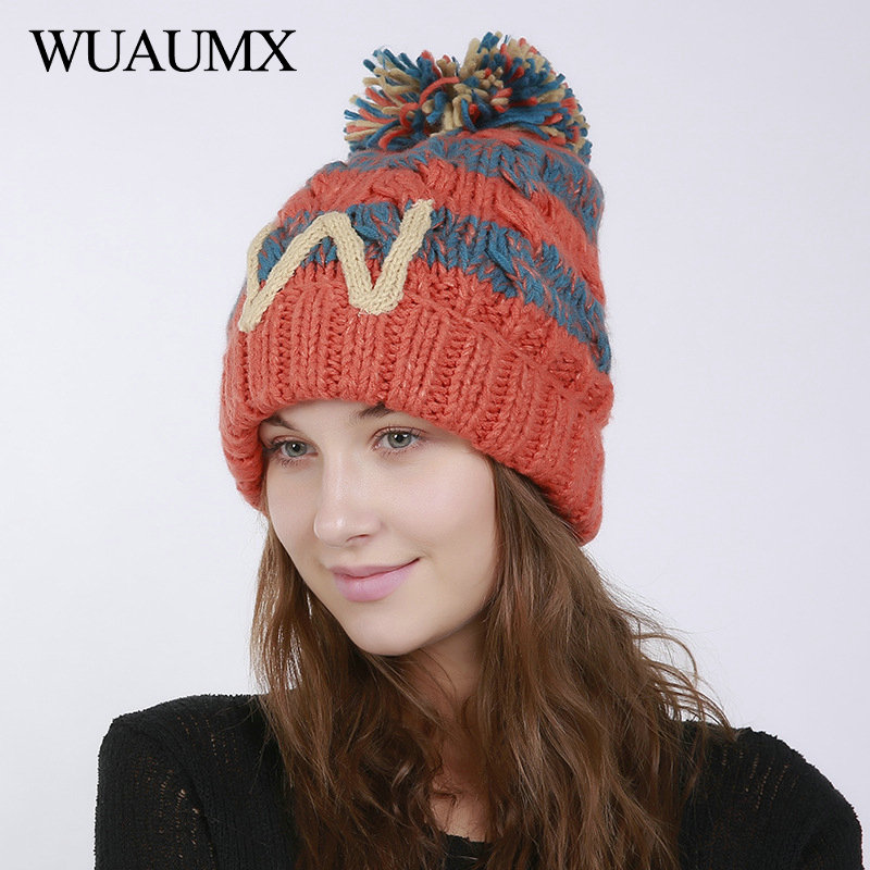 Wuaumx High Quality Winter Knitted   Beanies   Hats For Women Woolen Ball   Skullies     Beanie   For Ladies Girls Crochet Hat Drop Shipping