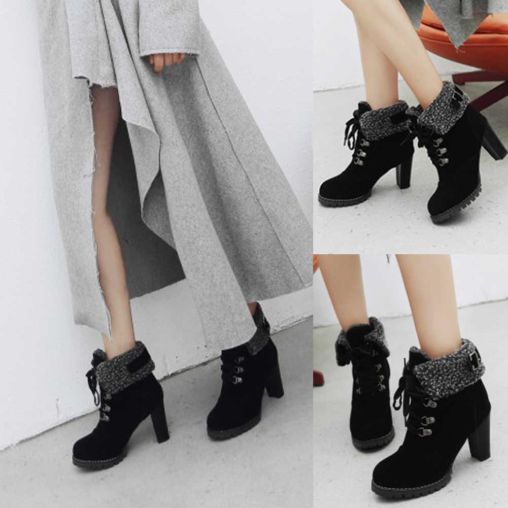 BONJOMARISA Yeni Artı Boyutu 32-44 Kış sıcak Topuk Kürk Patik Kadınlar 2019 Kaymaz Kış yarım çizmeler Kadın yüksek Topuklu Ayakkabılar Kadın