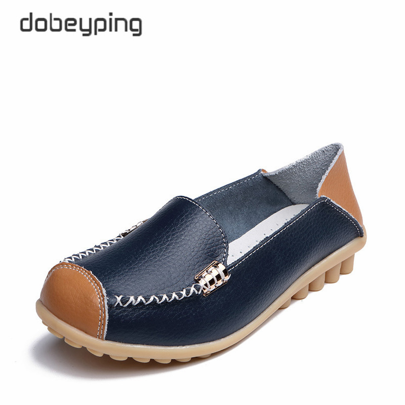 dobeyping New Spring Autumn Shoes Woman Genuine Leather Women Flats Female Moccasins Shoe Slip On Women's Loafers Big Size 35-44 2017 summer women s casual shoes genuine leather woman flats slip on femal loafers lady boat shoe big size 35 44 in 8 colors