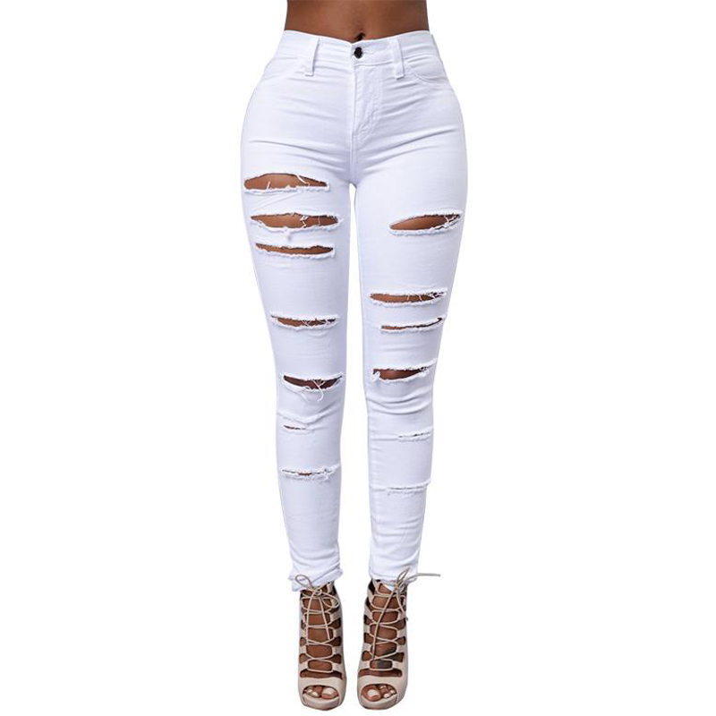 Black White Fashion High Waist Skinny Jeans Woman Brand New Cut Out Ripped Jeans Sexy Hip