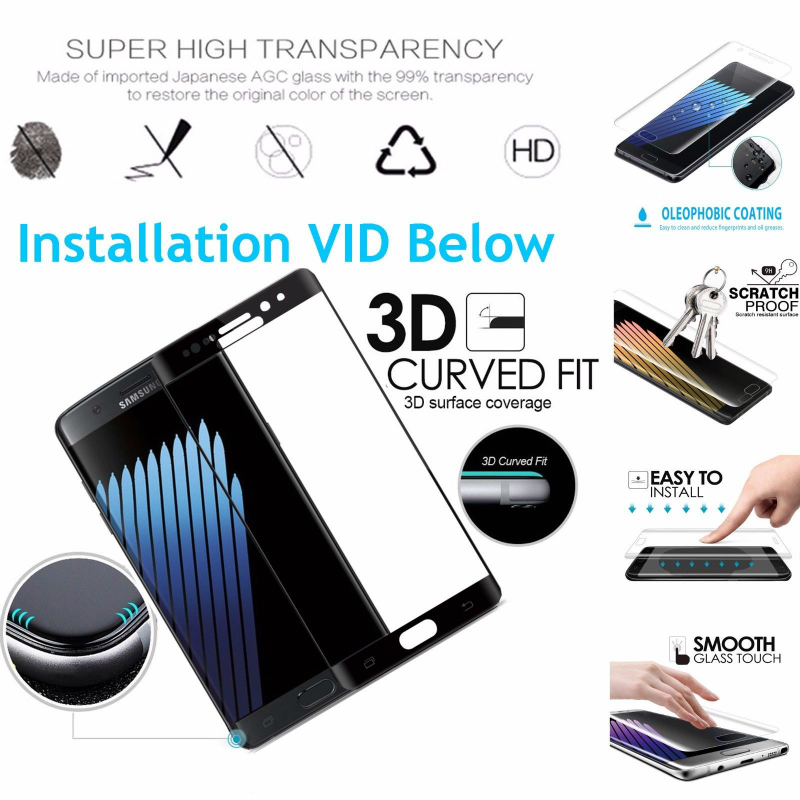 Glass For Samsung Galaxy Note Fan Edition Note7 3D Curved Full Cover Tempered Glass Screen Protector for Samsung Note 7 Note FE in Phone Screen Protectors from Cellphones Telecommunications