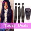 Dark Light Brown Brazilian Virgin Hair Straight Hair With Closure 3 Bundles 7a Unprocessed Straight Brazilian Hair Weave Bundles