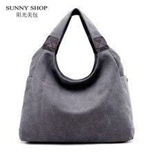 SUNNY SHOP Vintage Casual Canvas Tote Bag Large Capacity Hobos Shoulder Bag  2018 Summer Sling Bag Female Handbag Korean Fashion 29232cb327efc