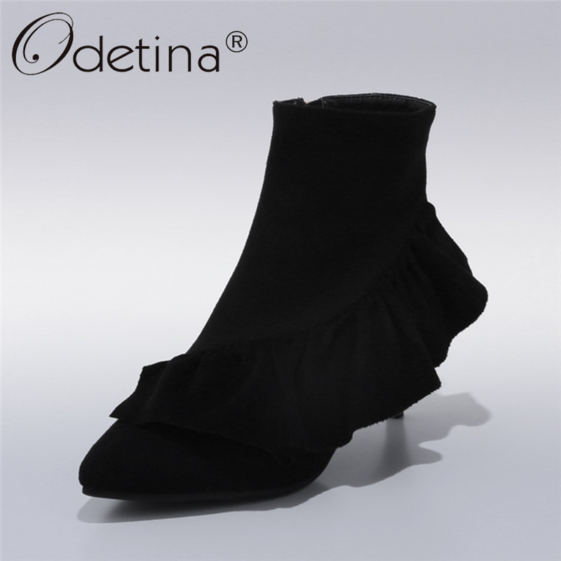 Odetina 2018 New Fashion Ladies High Heels Ankle Boots Pointed Toe Ruffle Shoes Women Thin Heel Boots With Zipper Plus Size 43 new 2017 spring summer women shoes pointed toe high quality brand fashion womens flats ladies plus size 41 sweet flock t179
