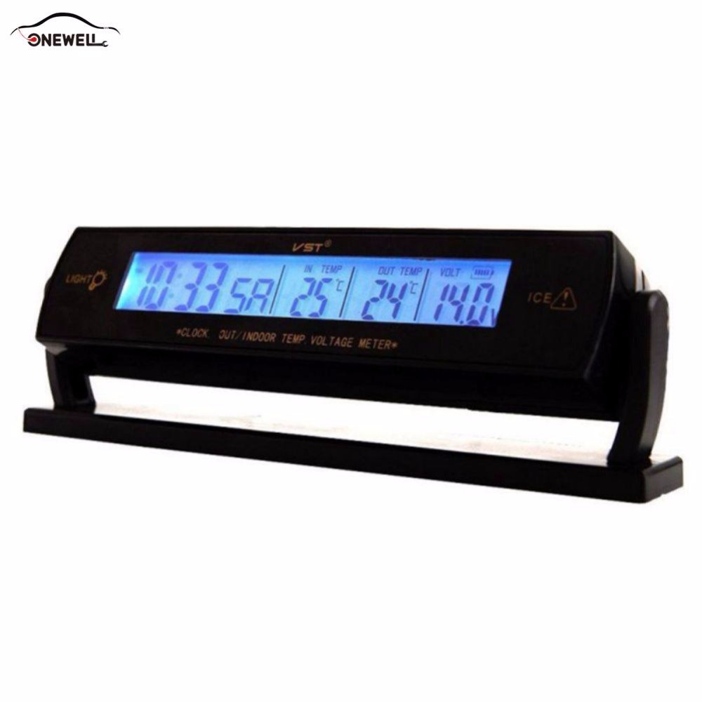 ONEWELL Car Black Auto Clock Voltage Digital LCD Car Temperature Thermometer Alarm Clock with Cigarette Lighter Cable