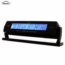 ONEWELL Reloj Automático negro para coche, termómetro de temperatura Digital LCD de voltaje, reloj despertador con Cable para encendedor de cigarrillos