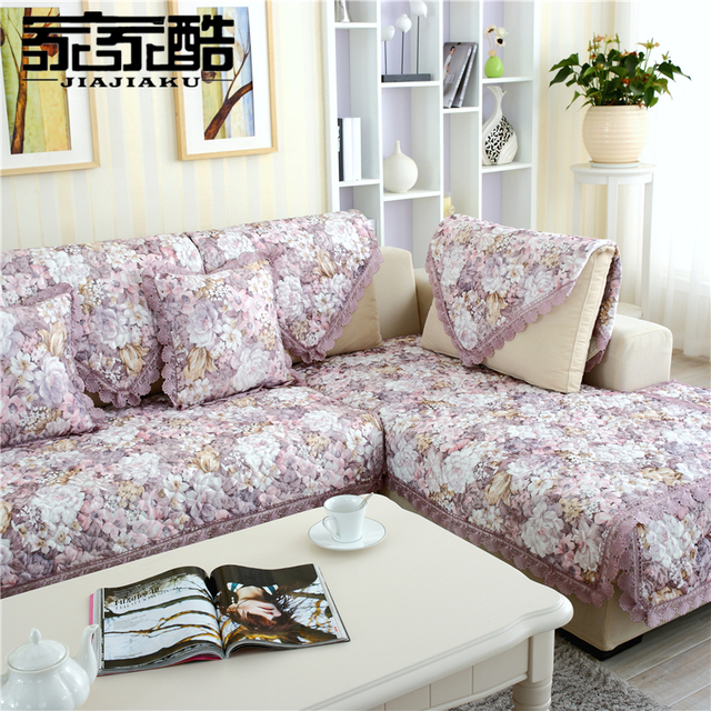 Jiajiaku Brand Cotton Sectional Sofa Cover Factory Customized Fabric Cushion Luxury Quilted Mat Furniture Slipcover Couch