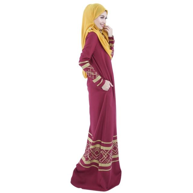 Women Stylish Abaya Jilbab Islamic Muslim Women's Long Sleeve Party Maxi Dress