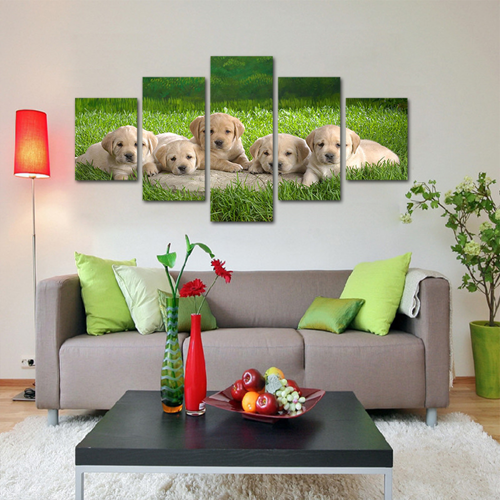 Unframed HD Print 5 Canvas Art Painting A Group Of Cute Puppie Living Room Decoration Animal Spray Painting Mural Unframed