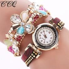 CCQ 2017 Luxurious Flower Rhinestone Bracelet Watch Informal Ladies Leather-based Wristwatch Trend Quartz Watch Relogio Feminino Reward C41
