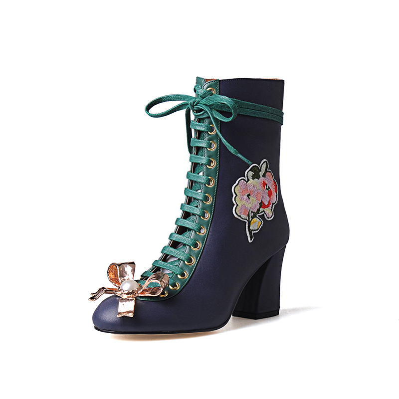 Plus Size34 43 2016 new Sexy Women Boots High Heels Print Flowers Pumps blue Spring Winter