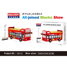 Bricks London Double Decker Public Bus Red Car Vehicle Traffic Lights 3D Model DIY Diamond Mini Building Blocks Toy