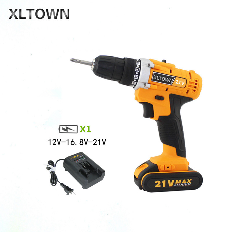 XLTOWN 12/16.8/21V Home Cordless Electric Drill Rechargeable Lithium Battery Multifunction Electric Screwdriver New power tool xltown 21v home cordless electric drill high quality multi motion lithium battery rechargeable electric screwdriver power tools