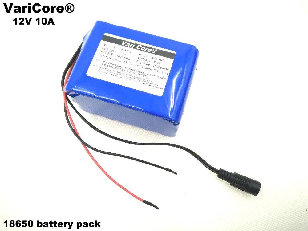Batterie 12 V 10 Ah 10000 mAh 18650 12.6 V + PCB; panneau de protection de batterie au Lithium + chagrer 12V1A (ue/US)