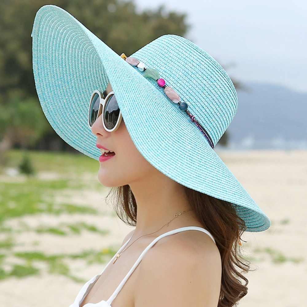 caf3d498c19 ... Women Floppy Sun Hat Wide Brim Foldable Summer Beach Straw Cap With  Shell Chain Fashion New ...