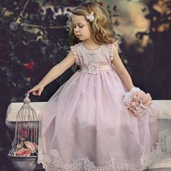 New Arrivals Little Girls Dresses Lace Appliques Pink Lovely Girls Beach Dresses Flower Girls Gowns