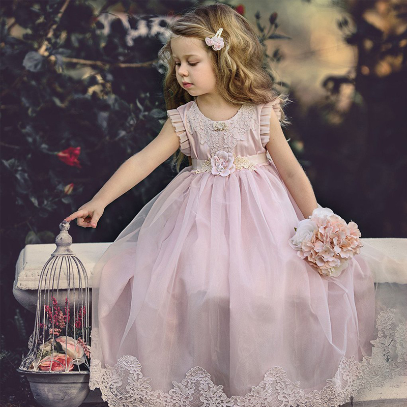New Arrivals Little Girls Dresses Lace Appliques Pink Lovely Girls Beach Dresses Flower Girls Gowns