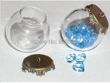 20sets/lot DIY Clear Globe Glass Bottle Pendant, Antique Bronze Top, Terrarium Apothecary, glass glo