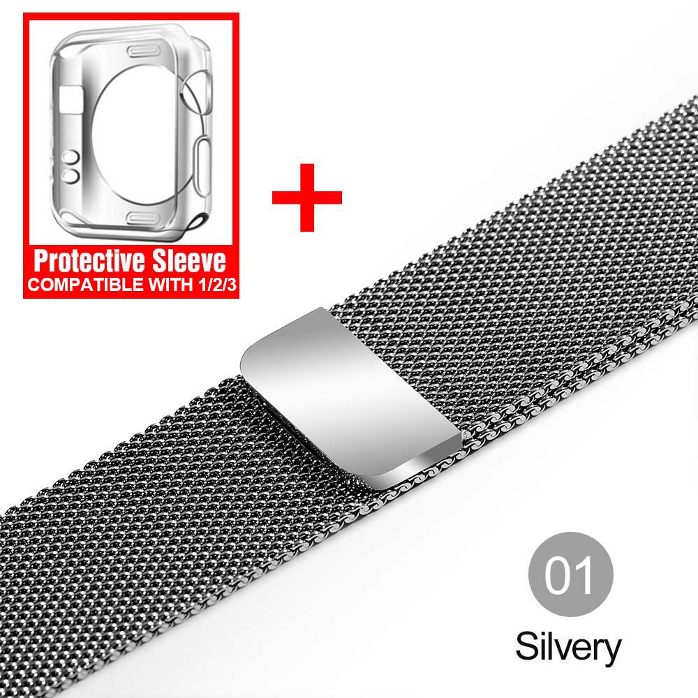 Milanese Loop For Apple Watch band strap 42mm/38mm iwatch4/3/2/1Stainless Steel Link Bracelet wrist watchband magnetic buckle 1