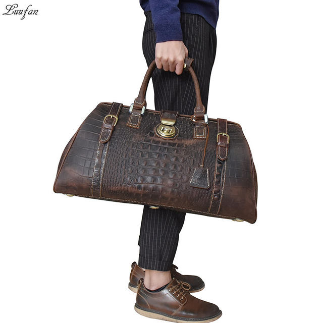 Vintage Crazy Horse Genuine Leather Mens Travel Bag Big Capacity Crocodile Travel  Duffle Bags carry on luggage bag overnight 9a78ed49b9270