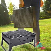 Outdoor Foldable BBQ Charcoal Grill Barbecue Camping Picnic Steel Stove Set цена и фото