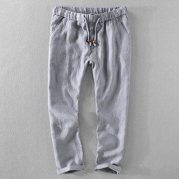 NOVEDAD DE VERANO 2018 pantalones harem de lino holgados de estilo chino con cintura elástica para hombre, pantalones de estilo a la moda de talla grande