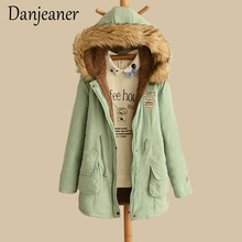 Danjeaner 2018 New Parkas Female Women Winter Coat Thickening Cotton Jacket Outwear Slim for