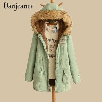 Danjeaner 2018 New Parkas Female Women Winter Coat Thickening Cotton Jacket Outwear Slim for
