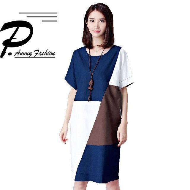 L~5XL Plus Size Cotton   Linen Color Matching Shift Dress Womens Summer NEW  voguees new Short Sleeve Big Size Straight Dress 1d71ce932105
