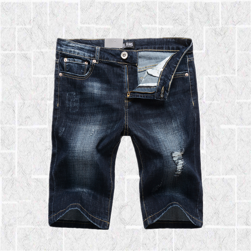 Casual Designer Dark Blue Shorts Jeans Men High Quality Cotton Brand Clothing Men`s Stretch Jeans Ripped Shorts 1003-1 велосипед altair city high 28 19 2015 dark blue