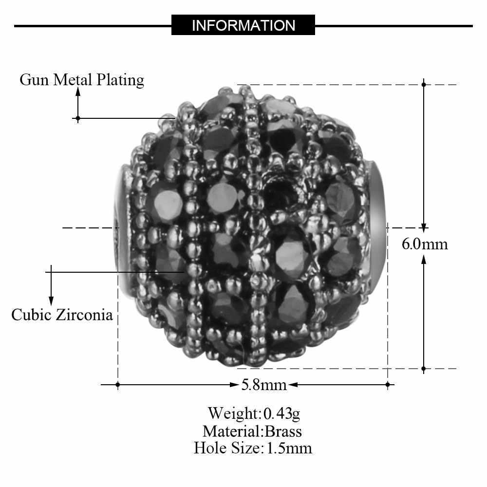 3 cái/lốc CZ Disco Chuỗi Hạt Bi Vnistar 5mm 6mm Đĩa Tròn Micro Mở Đường Đá Cubic Zirconia Không Gian Hạt DIY bộ trang sức Tìm Hạt