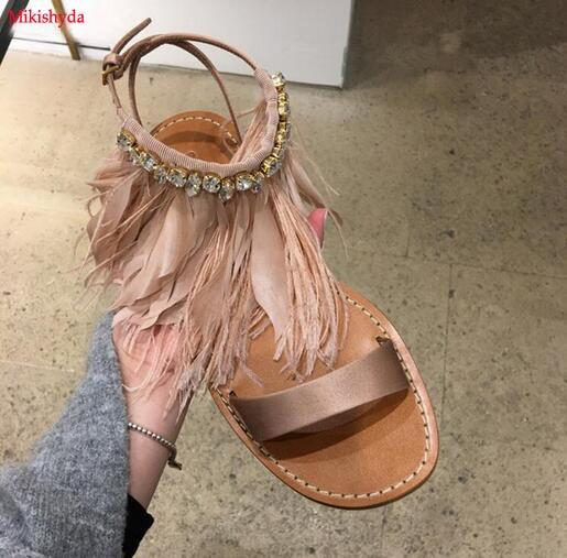 Summer Women Sandals 2017 Fashion Bohemia Women's Shoes Ankle Diamond Feather Strap Sandalias Flat Satin Sandal 2017 women sandals new fashion bohemia style ankle strap flip flops summer flat shoes woman ladies shoes sandalias mujer d35m4