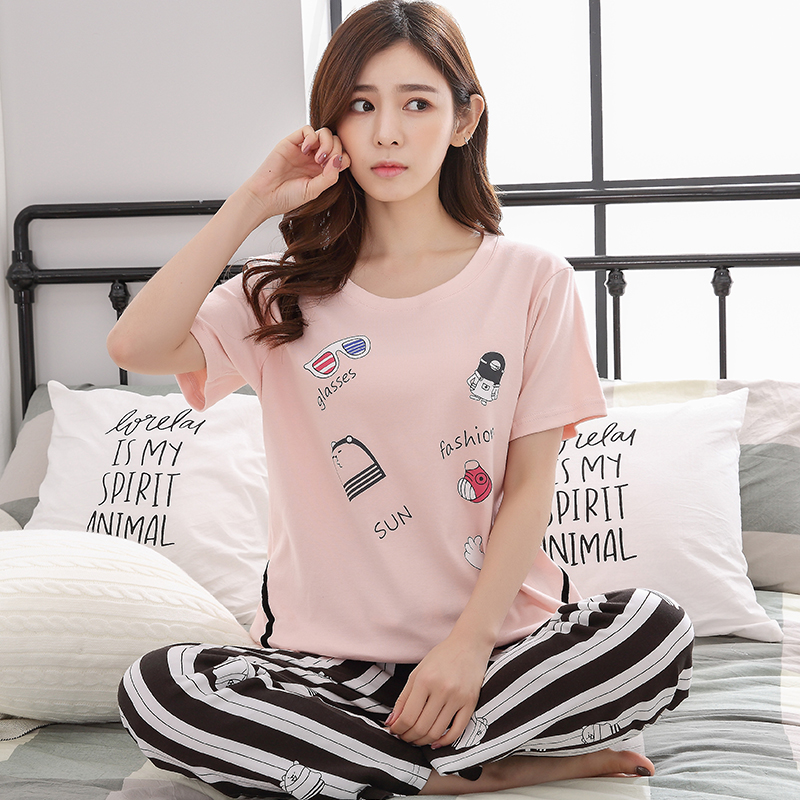 2019 summer Women Pyjamas Thin cotton short Sleeve   Pajamas     Set   cute pink homewear Tops Female Pyjamas   Sets   Night Suit Sleepwear