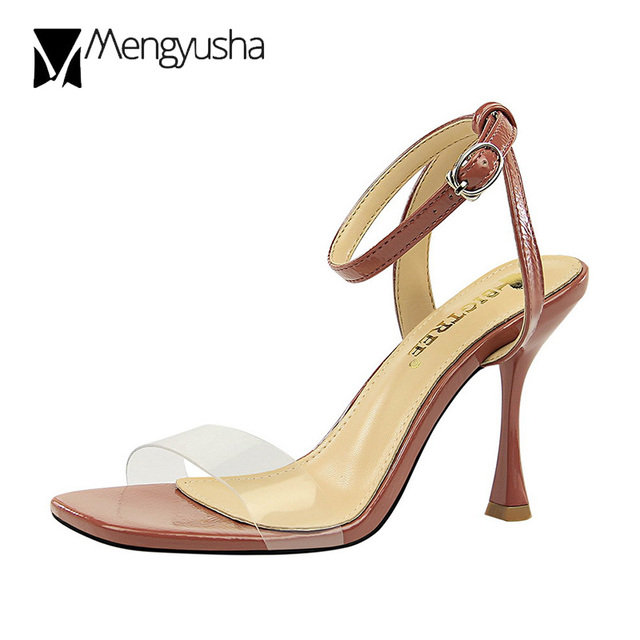 ec88f598eaa Wine glass heel sandals size 34-40 women gladiator sandalias transparent  back strap super high