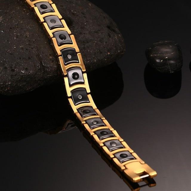 Vinterly steel magnetic bracelet male black ceramic energy germanium bracelets men hand chain gold color hologram bracelet male