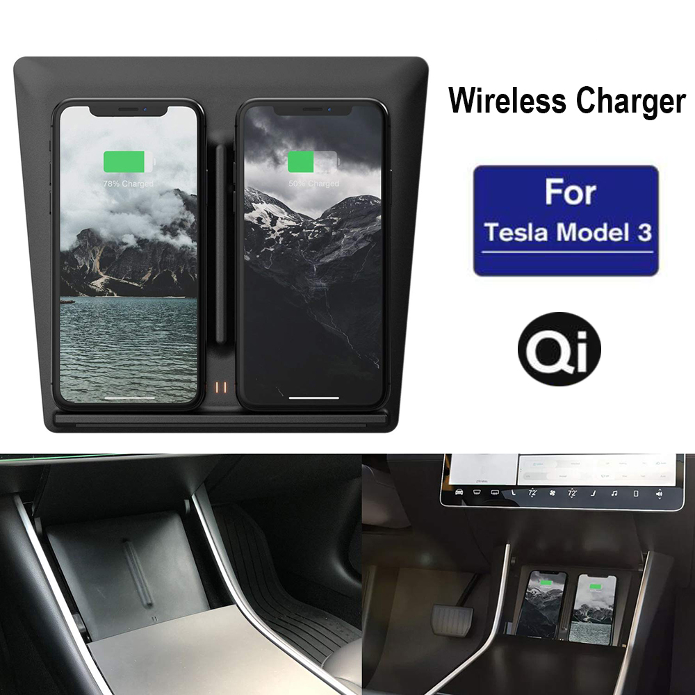 Tesla Model 3 Auto Accessories Car QI Wireless Fast Charger Car Mount Holder Stand For iPhone X 8 Xs Max XR Samsung S8 S9
