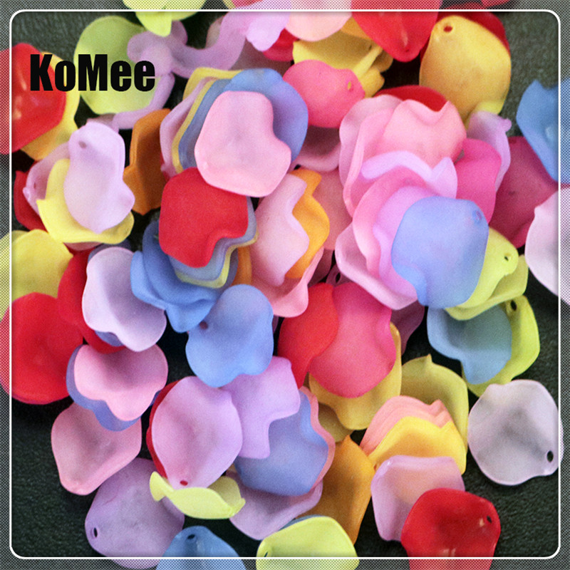 Acrylic Flower Petals Beads Wholesale 1000pcs/lot 15mm Random Mixed Color Round Pendant Jewelry DIY Accessories
