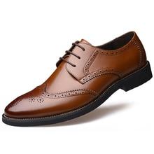 Italian Genuine Leather formal shoes men erkek ayakkabi elegant derby brogue wedding shoes mens oxford pointed toe dress shoes