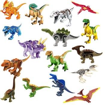 יורה העולם 2 דמויות דינוזאורים טירנוזאורוס רקס בניין לבני בלוק צעצועי דינוזאור פעולה איור דגם אוסף