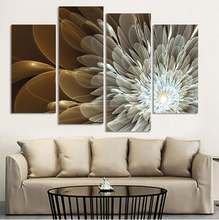 4Panel Canvas Wall Painting Wealth And Luxury Golden Flowers Art Picture Home Decor On Modern