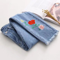 CK479 Fashion Pencil Woman Jeans With Embroidery Red Rose Slim Hole Bleached Denim Sexy Pants Women